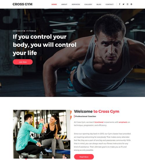 Cross Gym Fitness and gym Health Center Ready Made WordPress Website Theme