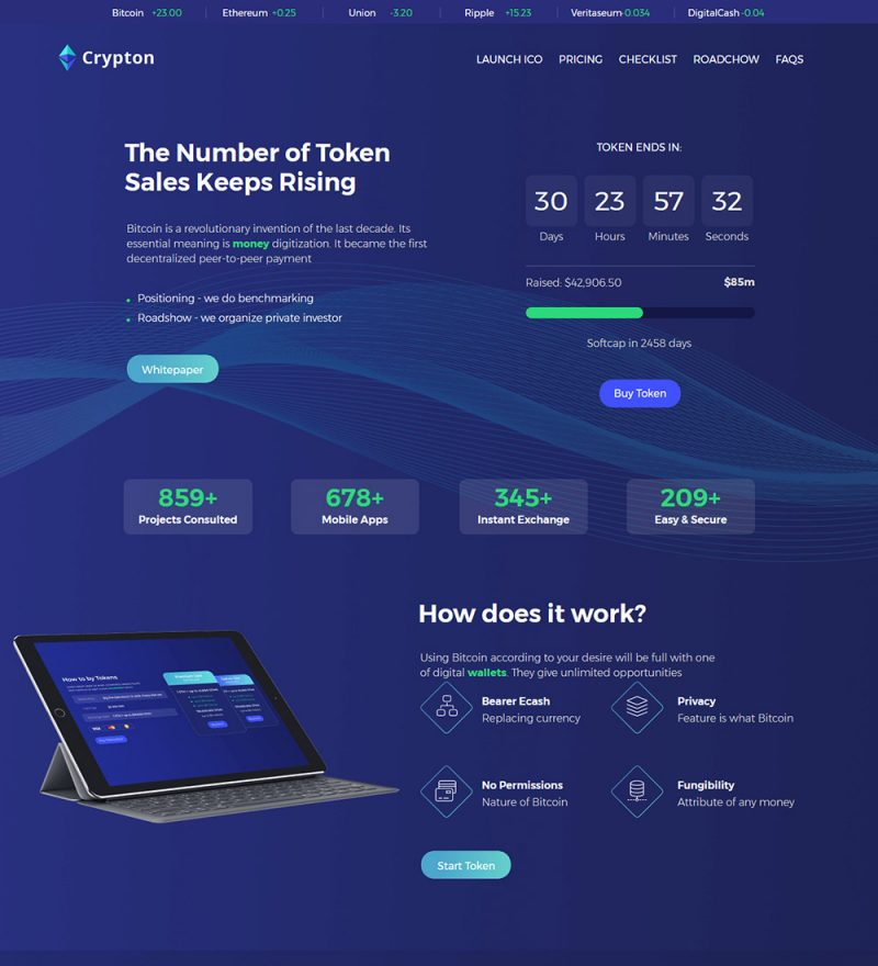 Crypton Bitcoin Digital Cryptocurrency Blockchain Technology Ready Made WordPress Website
