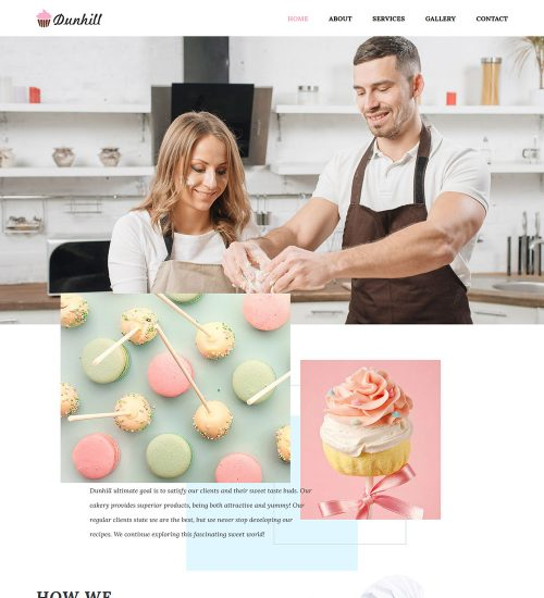 Dunhill Cake Pastry Bakery Food Ready Made WordPress Website Themes