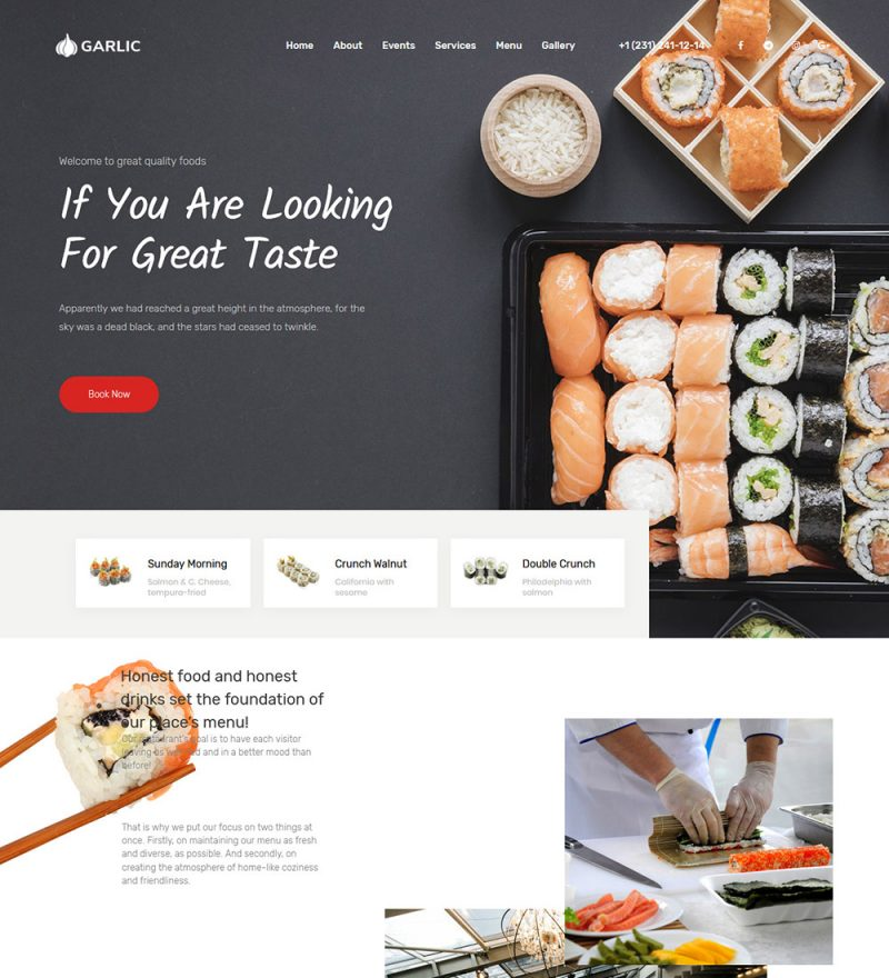 Garlic Food Restaurant Ready Made WordPress Website