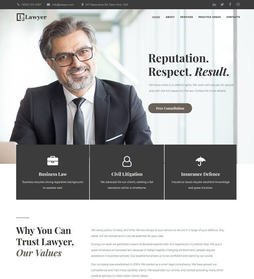 Lawyer Attorney and Law Firms Ready Made WordPress Website Theme