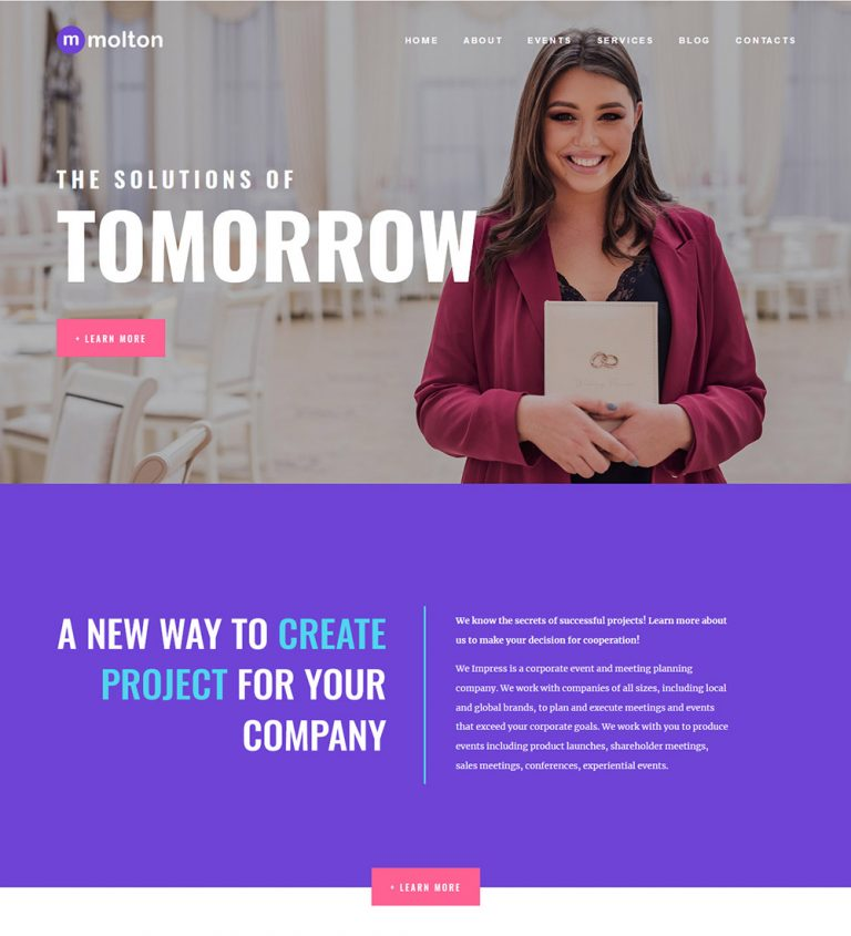 Molton Corporate Business Events Conference Meetup Ready Made WordPress Website Themes