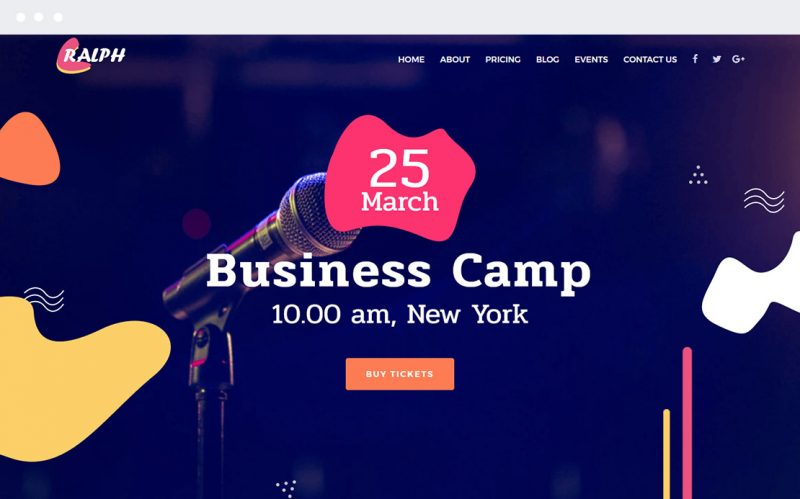 Ralph Business Conference Meeting Event One Page Ready Made WordPress Website Theme