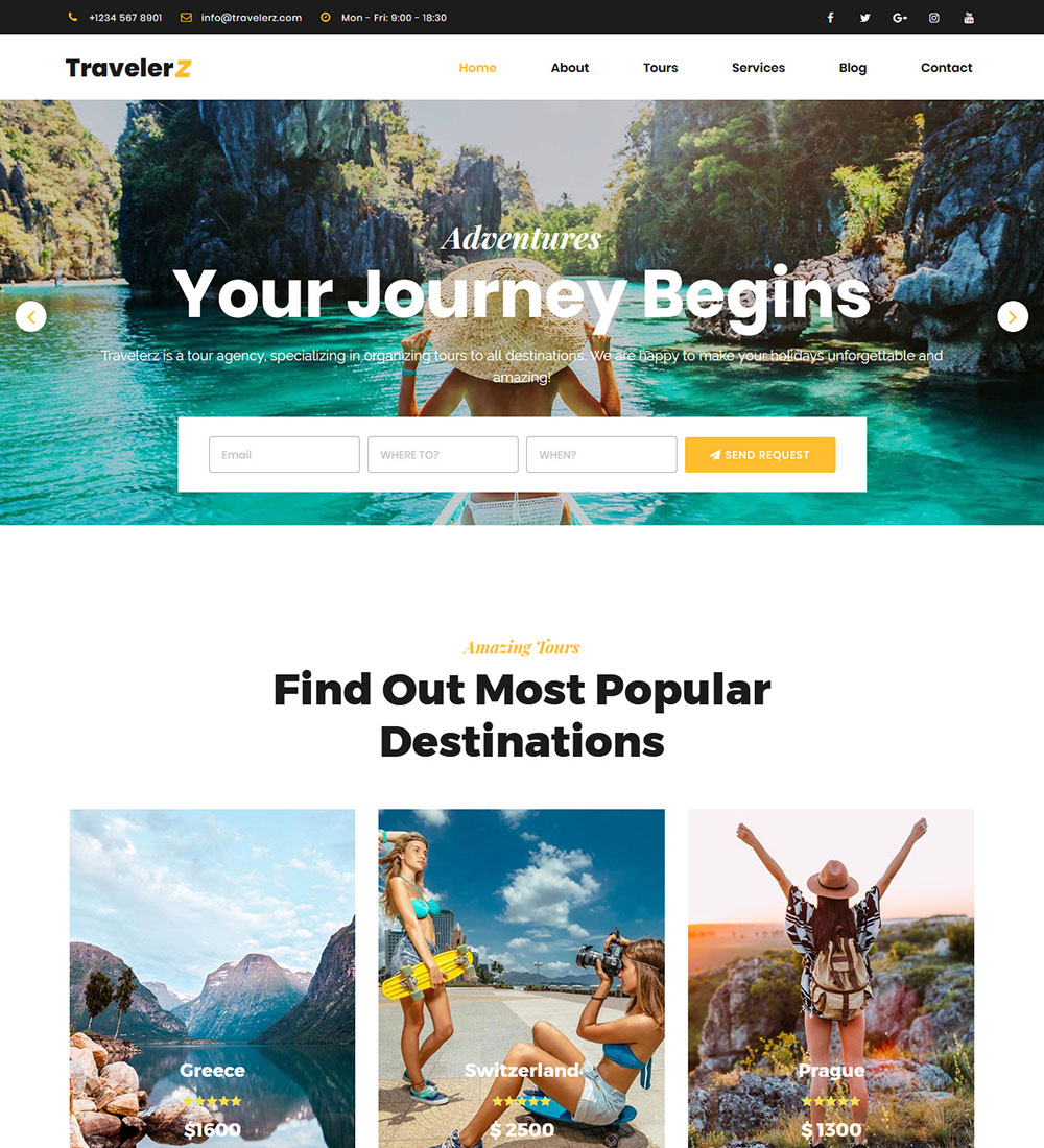 Travel Agency Website >> Travelerz Tour And Travel Agency Ready Made Wordpress Website