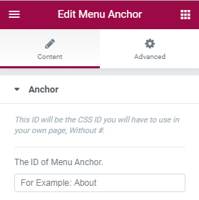 menu anchor