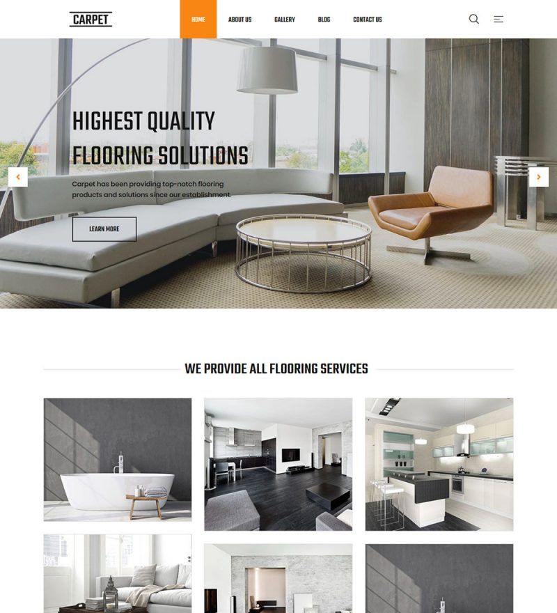 Carpet Flooring Products Services Provider WordPress Ready Made Website Theme