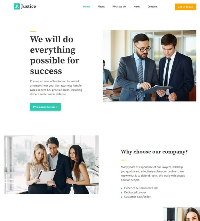 Justice Law Firm Lawyer Services Ready Made WordPress Website Theme