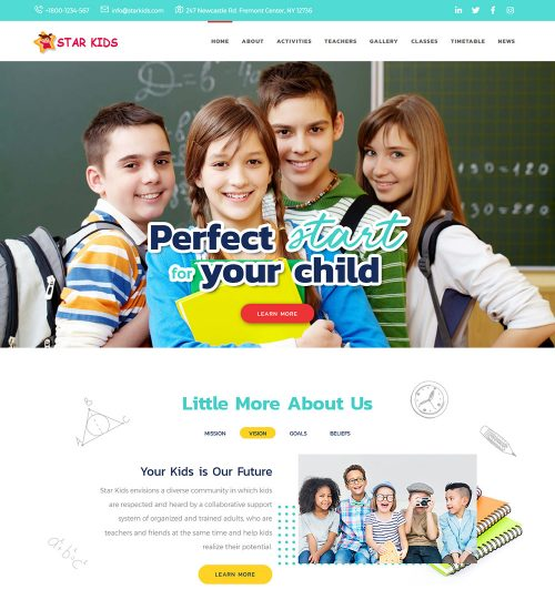 Star Kids Kindergarten Primary School Education Institute Ready Made WordPress Website Theme