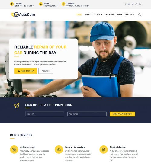 Auto Repair Diagnostics Center Shop Ready Made WordPress Website Theme