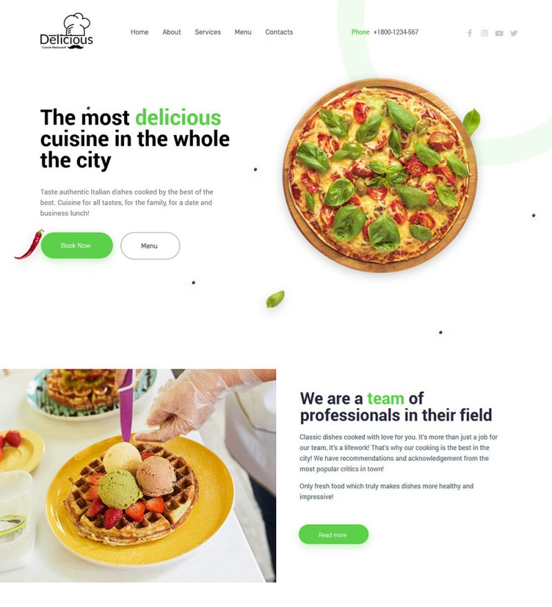 Delicious Cuisine Restaurant And Food Shop Ready Made WordPress Website Theme