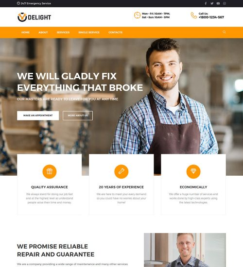 Delight Home Repair Services Ready Made WordPress Website Theme