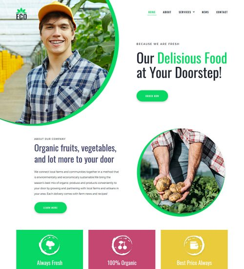 Eco Organic Farms Food And Agriculture Farming Ready Made WordPress Website Theme