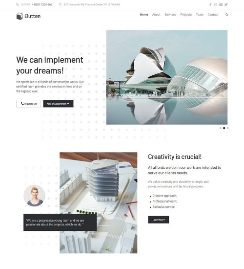Elutten Interior Modern Designing Ready Made WordPress Website Theme