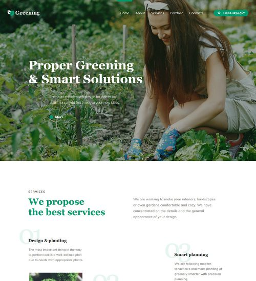 Greening Gardening And Planting Ready Made WordPress Website Theme