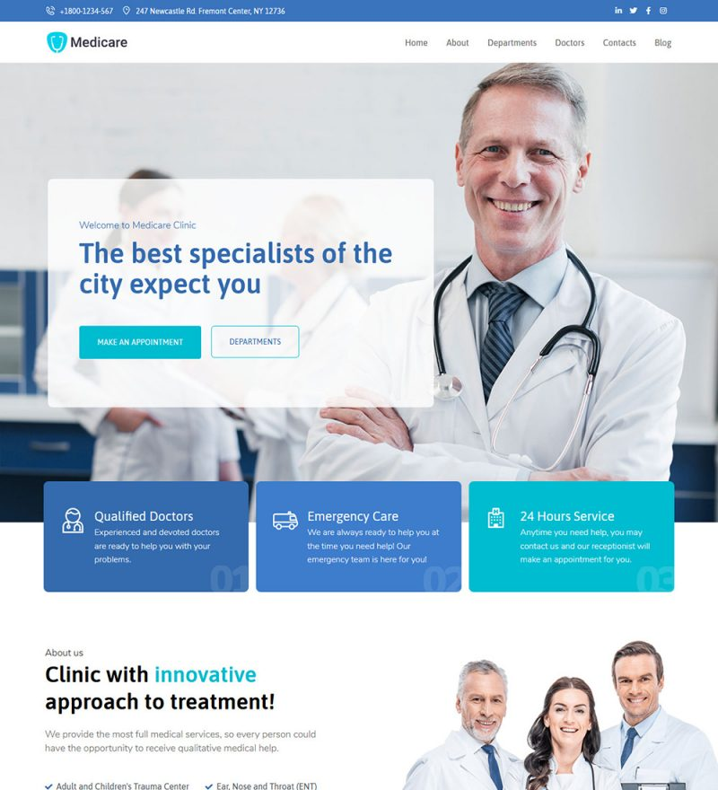 Medicare Medical Treatment Hospital And Clinic Ready Made WordPress Website Theme