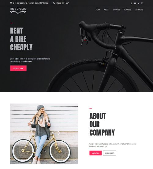 Ride Cycles Rental Bicycles Bikes Ready Made WordPress Website Theme