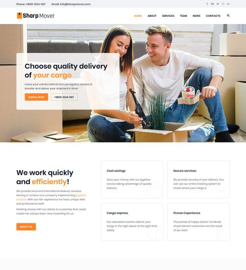 Sharp Movers And Packers Logistic Ready Made WordPress Website Theme