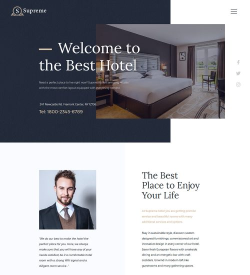 Supreme Hotel Ready Made WordPress Website Theme