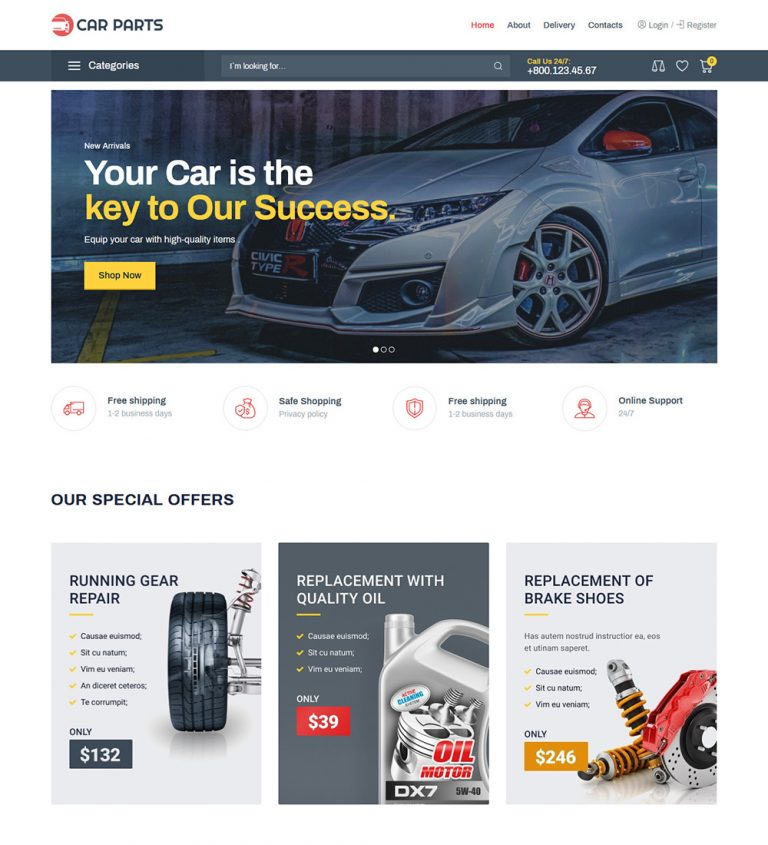 Car Parts Accessories Online Ecommerce Store Ready Made Woocommerce Website Theme
