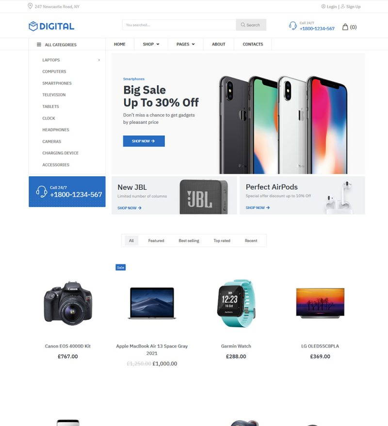 Digital Electronics Gadget Online Shop Ecommerce Store Ready Made Woocommerce Website Theme