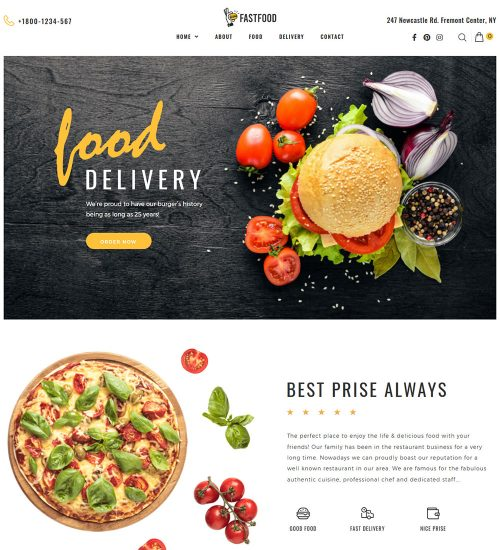 Food Store Online Fast Food Delivery Ecommerce Store Ready Made Woocommerce Website Theme