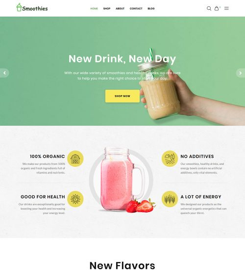 Smoothies Organic Fruit Juice Online Shop Ecommerce Ready Made Woocommerce Website Theme
