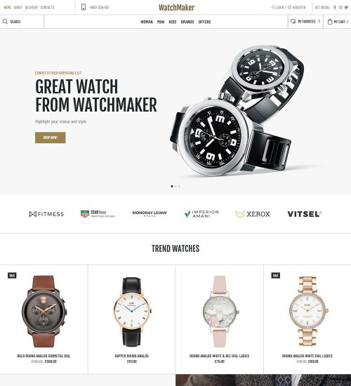 WatchMaker Online Watch Store Ecommerce Ready Made Woocommerce Website Theme