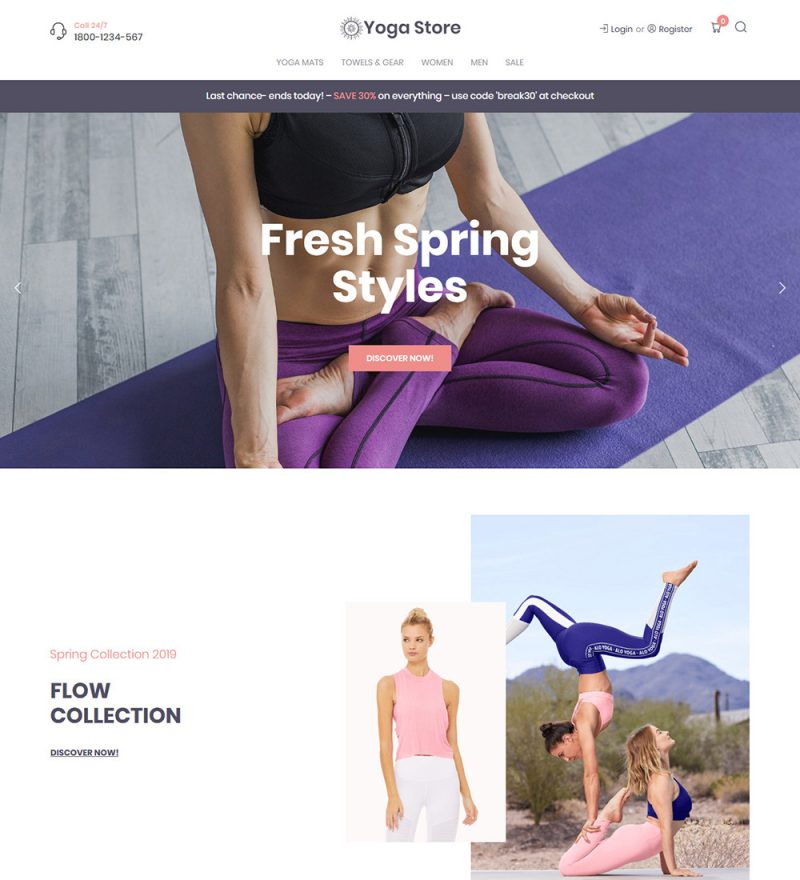 Yoga Store Clothes Accessories And Fitness Equipments Online Ecommerce Ready Made Woocommerce Website Theme