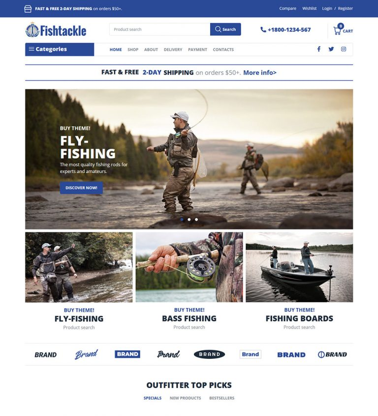 Fishtackle Fishing Products Online eCommerce Store Ready Made WooCommerce Website Theme