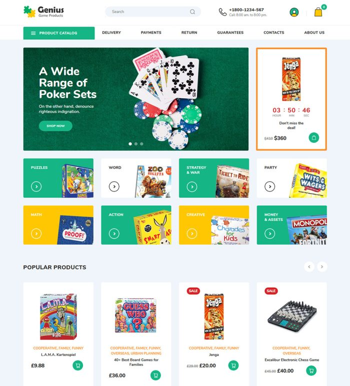 Genius Kids Game Products Online eCommerce Store Ready Made WooCommerce Website Theme