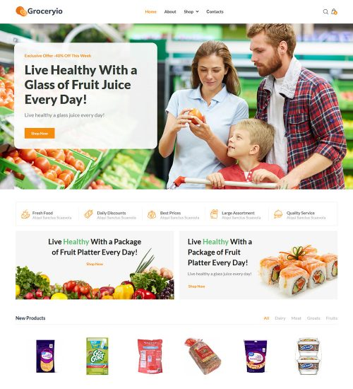 Groceryio Food And Grocery Online Store Ecommerce Ready Made Woocommerce Website Theme