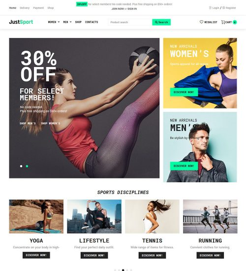 Justsport Sportswear Clothing Online Ecommerce Store Ready Made Woocommerce Website Theme