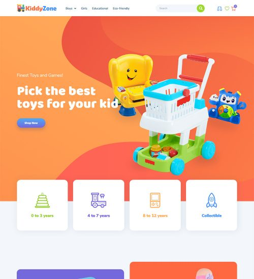 KiddyZone Kids Toys Online Ecommerce Store Ready Made Woocommerce Website Themes