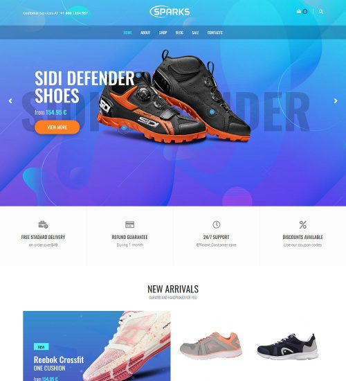 Sparks Sports Shoes Online Ecommerce Store Ready Made Woocommerce Website Theme