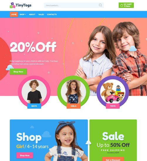 TinyTogs Kids Cloths Online eCommerce Store Ready Made WooCommerce Website Theme