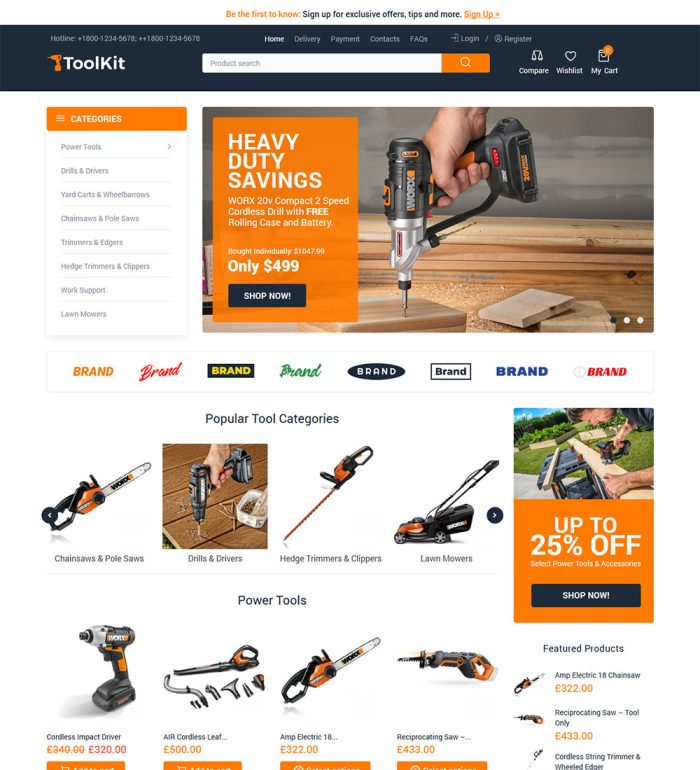 ToolKit Online Hardware Tools And Equipments eCommerce Store Ready Made WooCommerce Website Theme