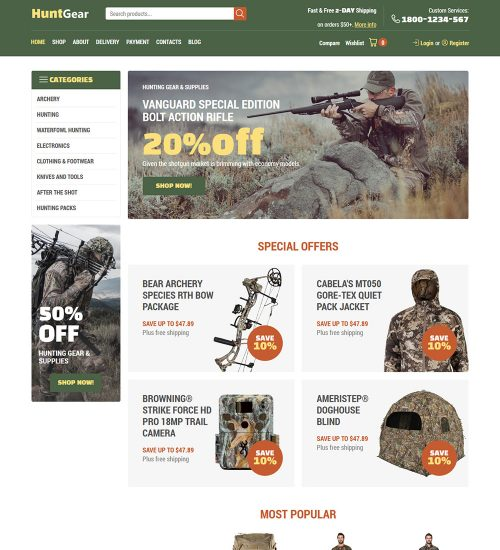 huntgear hunting products and supplier online ecommerce store ready made woocommerce website theme