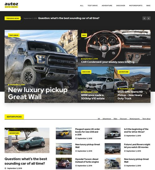 Autoz Car And Bikes News Ready Made WordPress Blog Website Theme