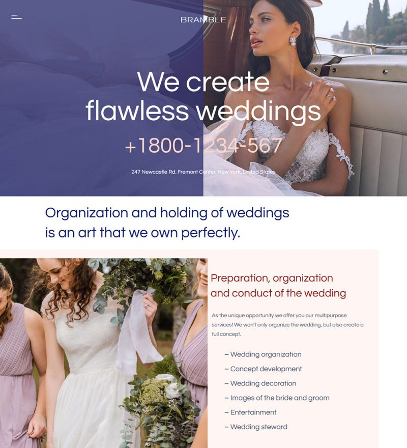 Bramble Wedding Planner And Organizer Ready Made WordPress Website Theme