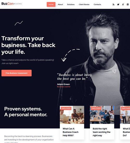 BuzCon Engaging And Inspiring Public Speaker Ready Made WordPress Website Theme
