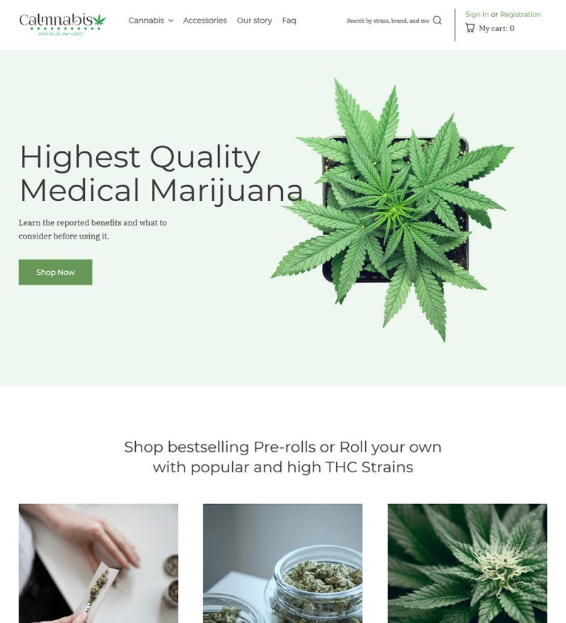 Calmnabis Marijuana Cannabis eCommerce Store Ready Made WooCommerce Website Theme