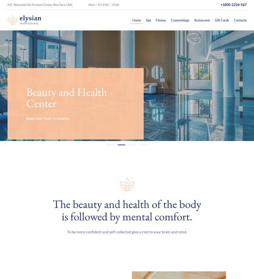 Elysian Beauty Fitness Wellness And Health Center Ready Made WordPress Website Theme