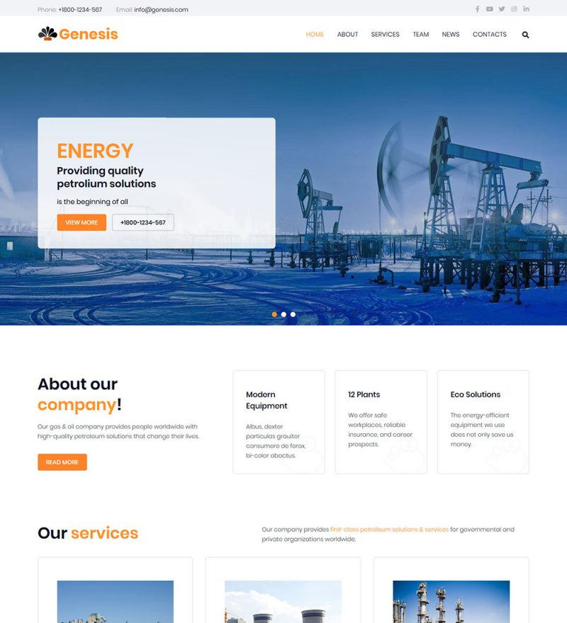 Genesis Oil And Gas Company Ready Made WordPress Website Theme