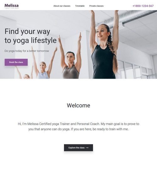 Melissa Yoga Trainer Ready Made WordPress Website Theme