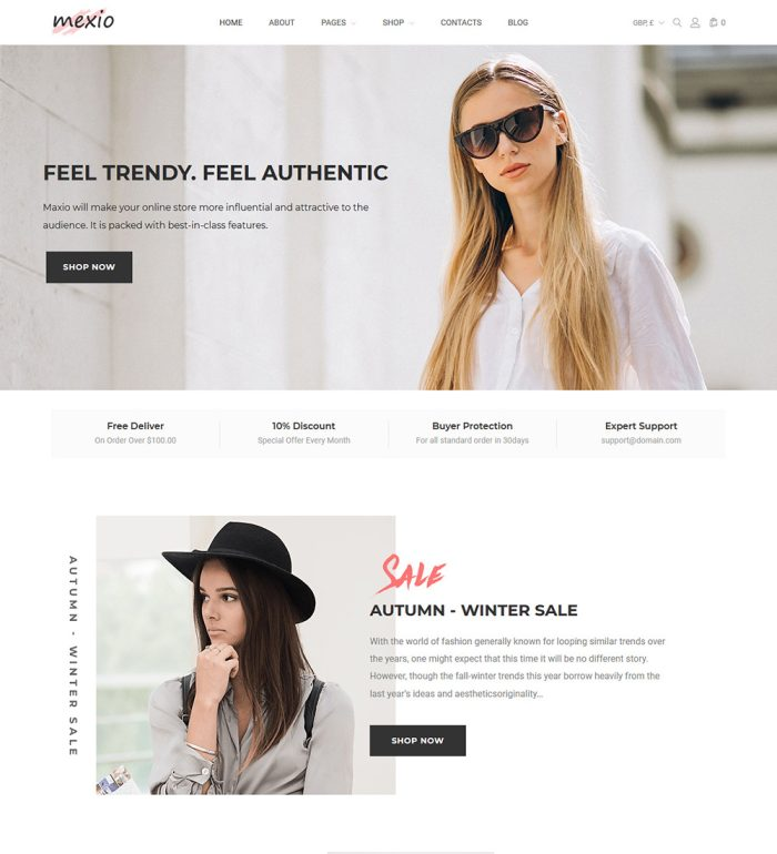 Mexio Clothes for Men and Women Online eCommerce Store Ready Made WooCommerce Website Theme