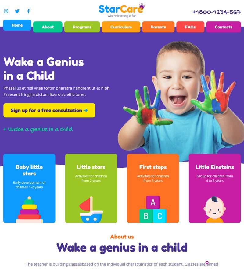 StarCare Baby Daycare Center Ready Made WordPress Website Theme