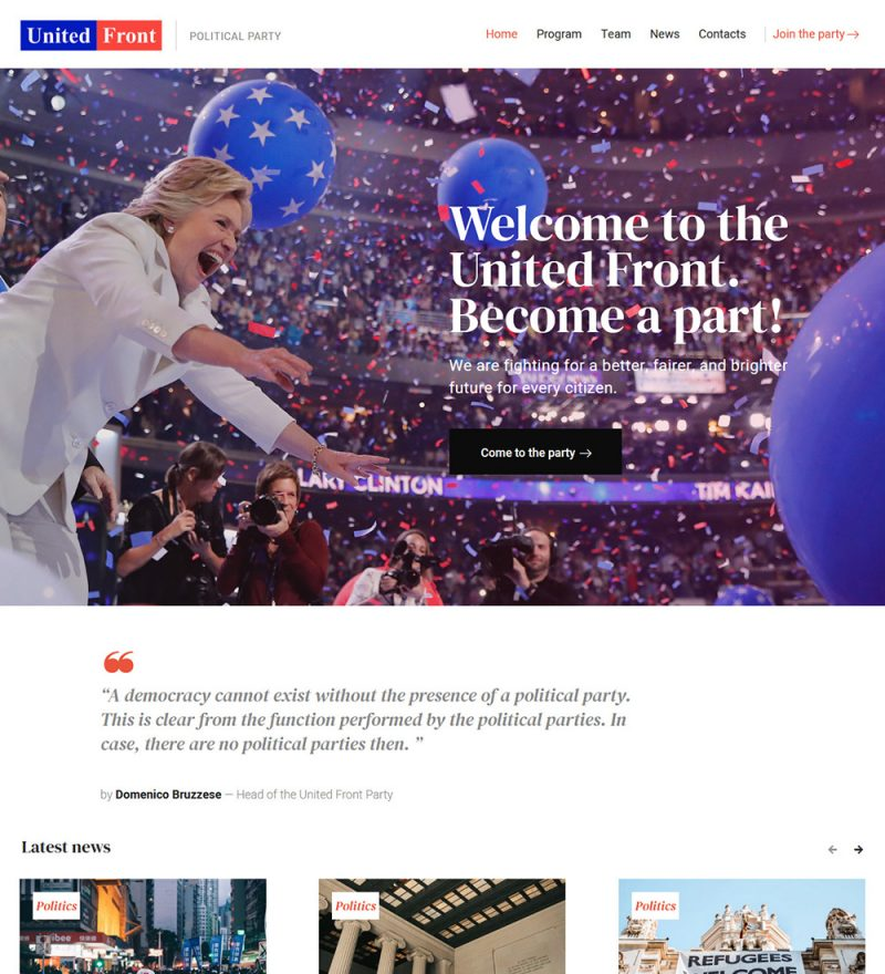 United Front Political Party Ready Made WordPress Website Theme
