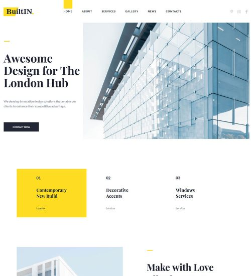 BuitIN Architect And Builder Construction Company Ready Made WordPress Website Theme