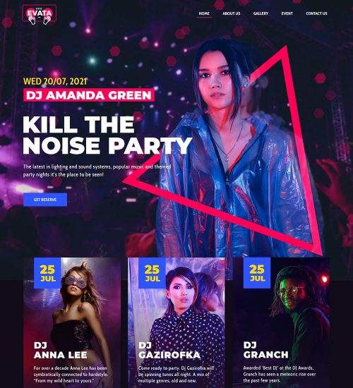 Evata DJ Night Club Party Ready Made WordPress Website Theme