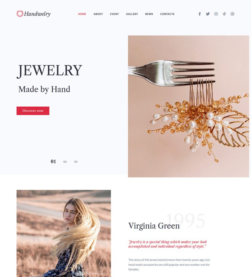 Handwelry Handmade Jewellery Ready Made WordPress Website Theme
